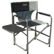 Quest Surrey Directors Camping Chair & Side Table (Black/Grey)